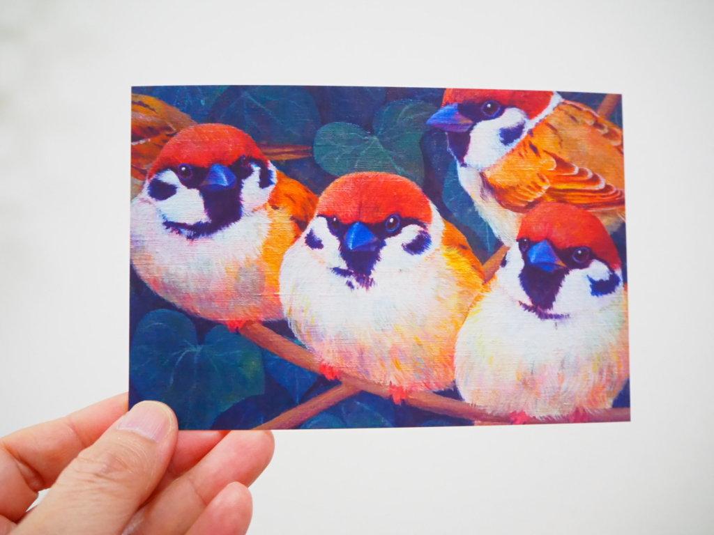 中島萌さんのポストカード(スズメ)