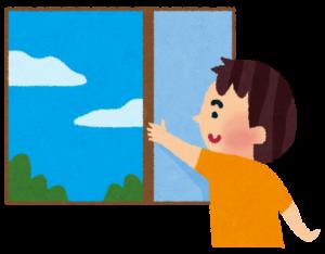 窓を開けて換気をするイラスト