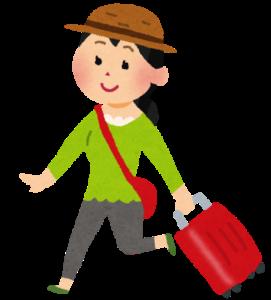 旅行バッグを持った女性のイラスト