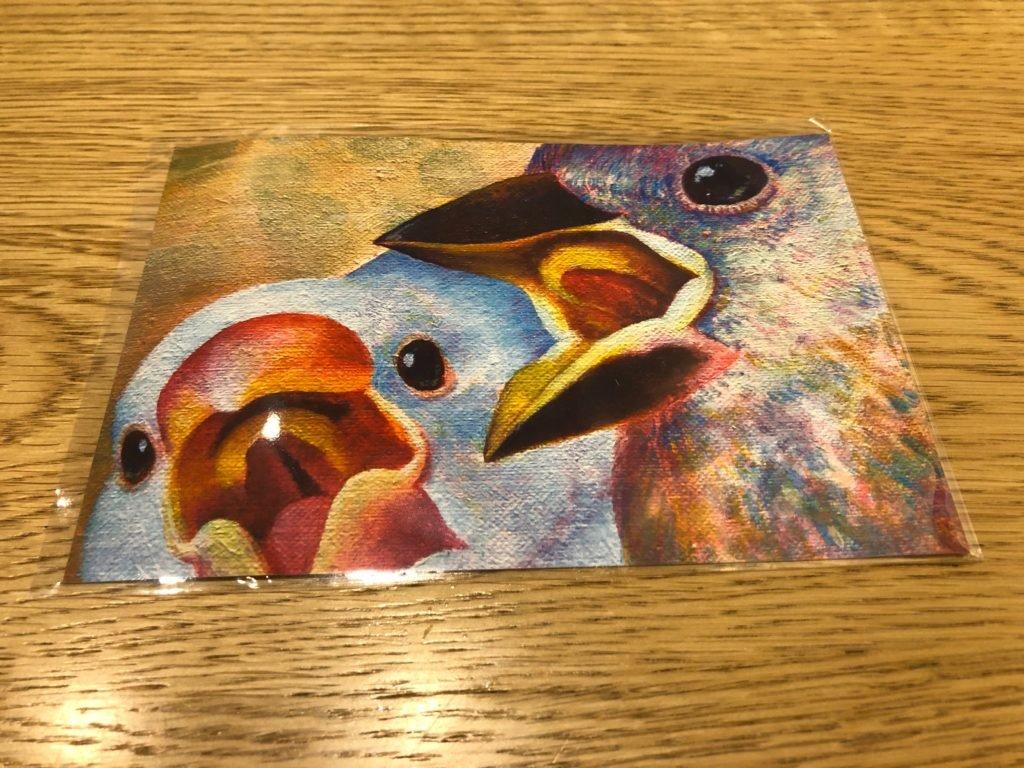 中島萌さんの文鳥の雛のポストカード