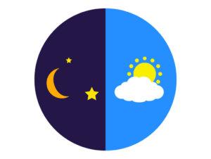 月と太陽のイラスト