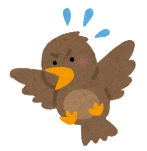 慌てている鳥