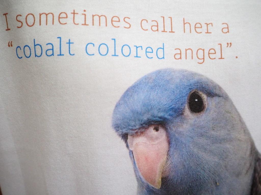 サザナミインコのくるみちゃんのTシャツ、くるみちゃんの羽根の質感