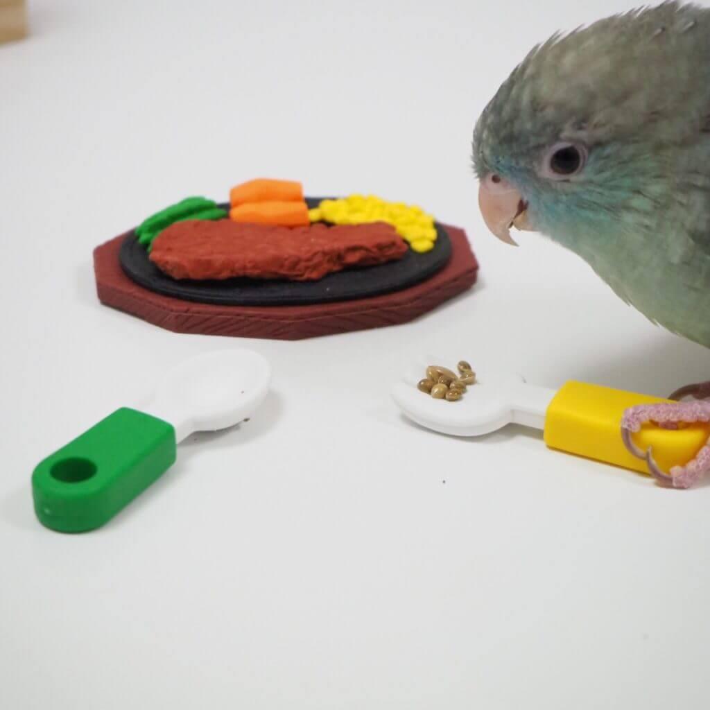 サザナミインコのなすびくんがおもちゃのスプーンに脚をかけておやつを食べている