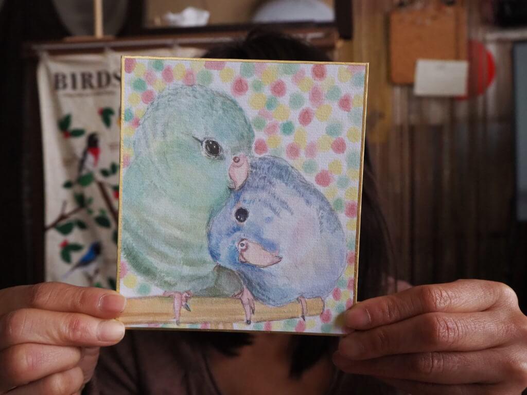 恋人ののんたんが描いたキチジローくんとオチャマルくんの水彩画イラスト。