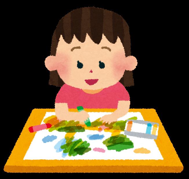 絵を描いている女の子のイラスト