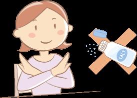 塩はダメ と呼びかけている女性のイラスト