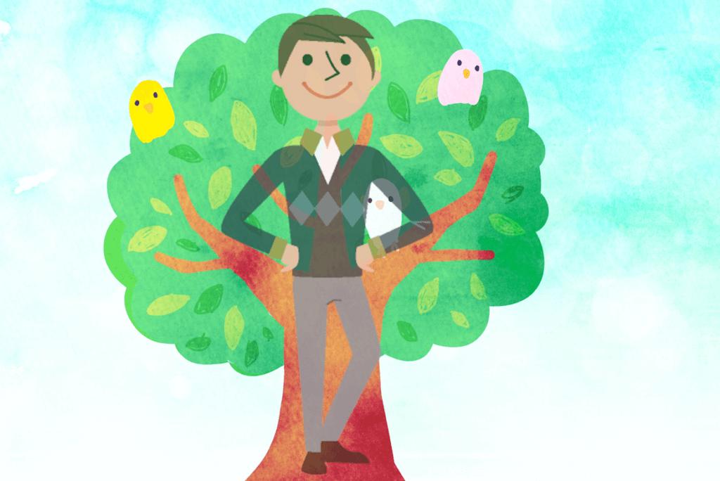 お父さんと木が重なっている